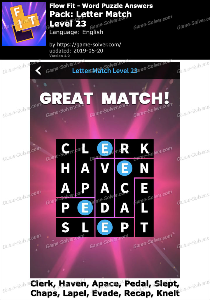 Flow Fit Letter Match-Level 23 Answers