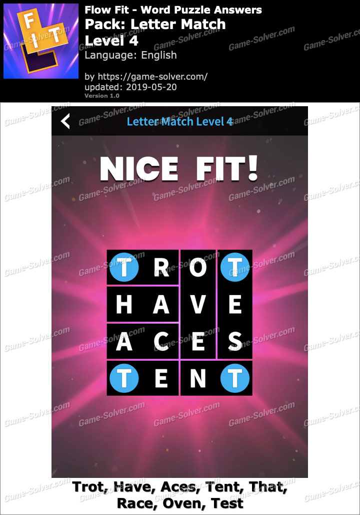 Flow Fit Letter Match-Level 4 Answers