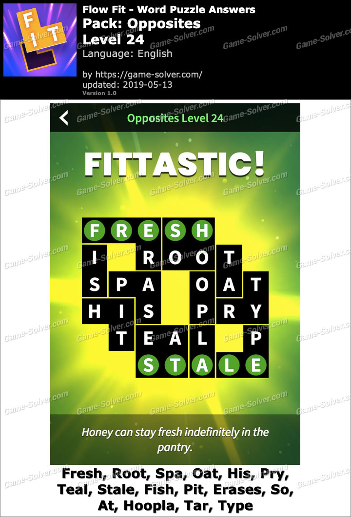 Flow Fit Opposites-Level 24 Answers