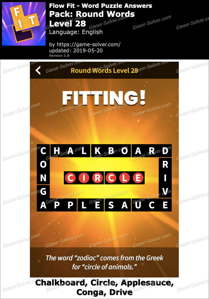 Flow Fit Round Words-Level 28 Answers