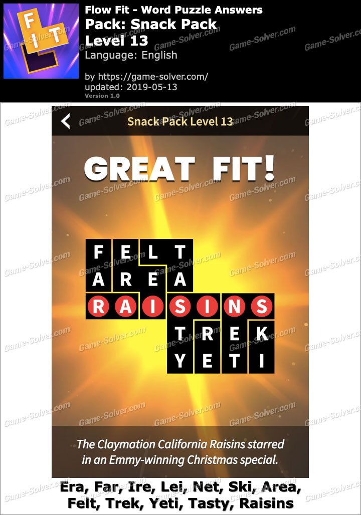 Flow Fit Snack Pack-Level 13 Answers