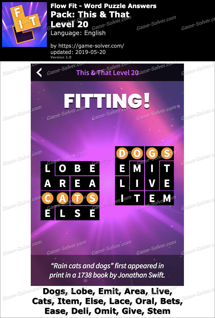 Flow Fit This And That-Level 20 Answers