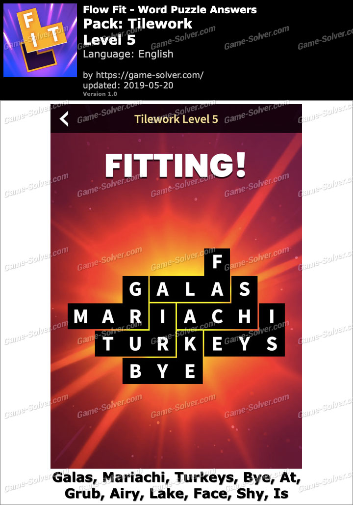 Flow Fit Tilework-Level 5 Answers