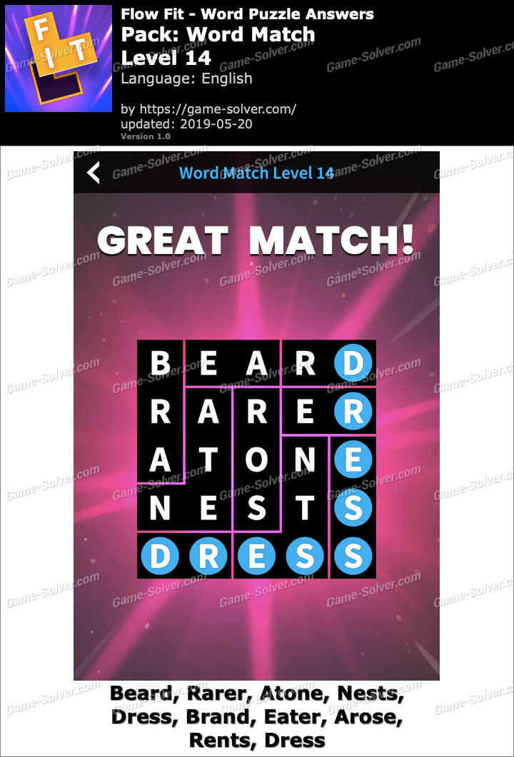 Flow Fit Word Match-Level 14 Answers