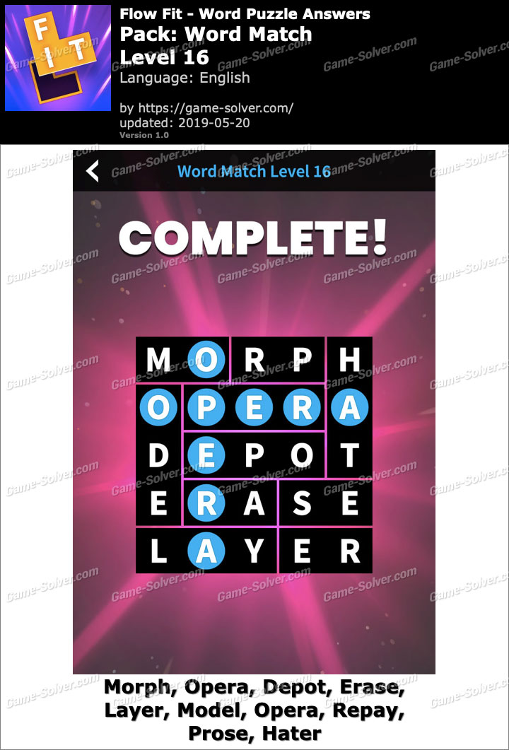 Flow Fit Word Match-Level 16 Answers
