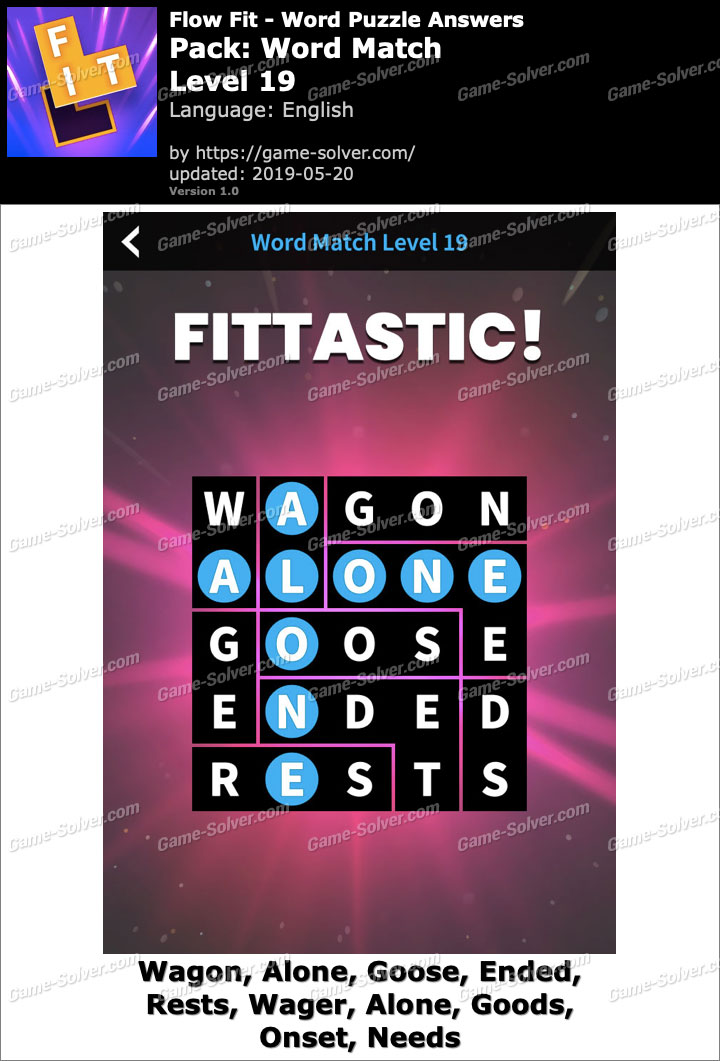 Flow Fit Word Match-Level 19 Answers