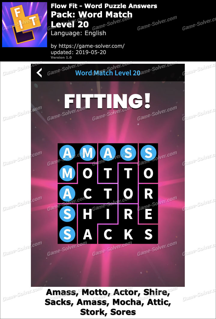 Flow Fit Word Match-Level 20 Answers