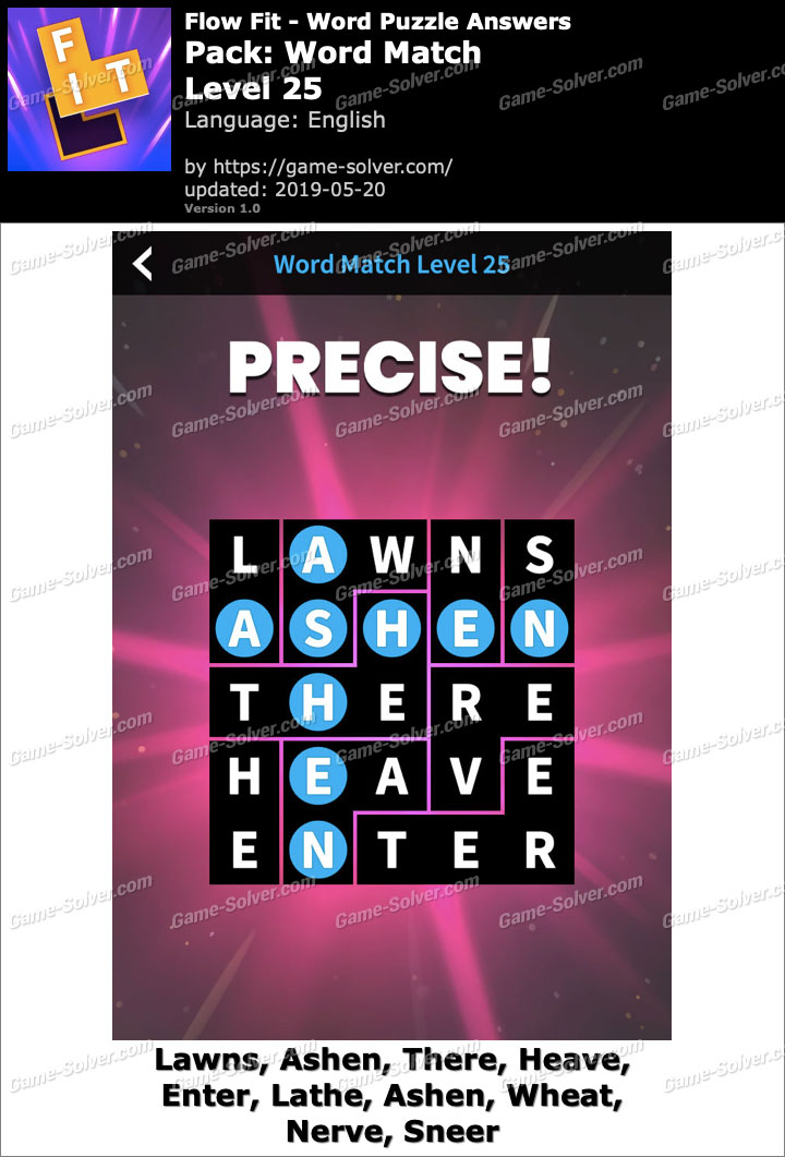 Flow Fit Word Match-Level 25 Answers