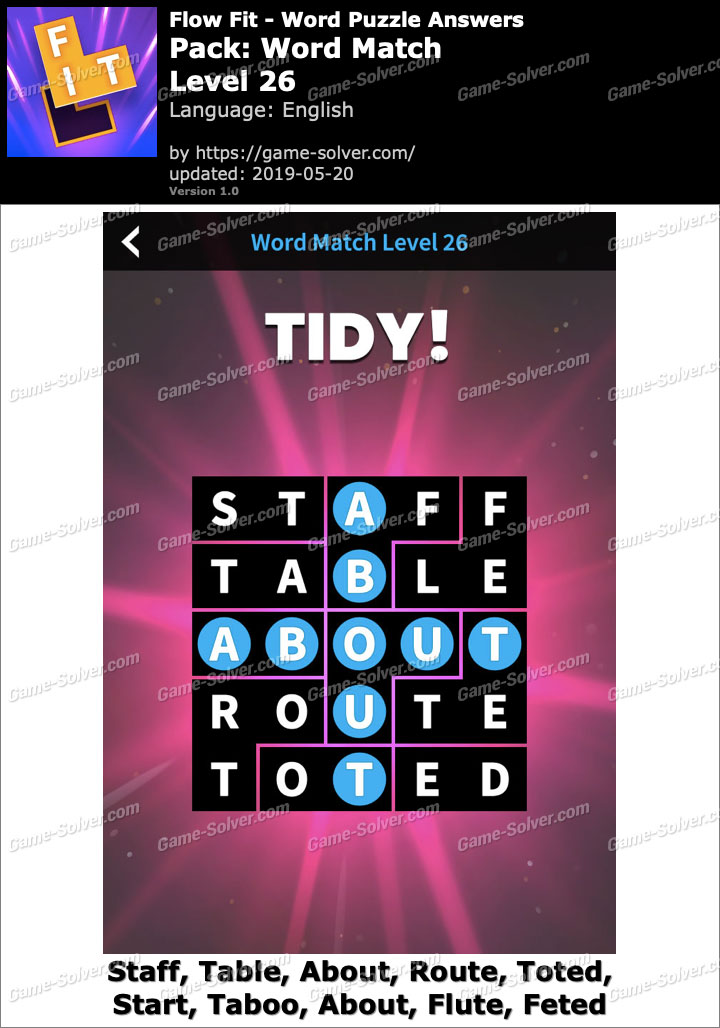 Flow Fit Word Match-Level 26 Answers