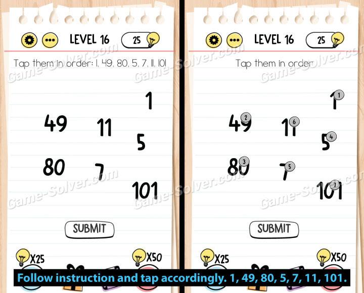 Brain Test Level 16 Answers