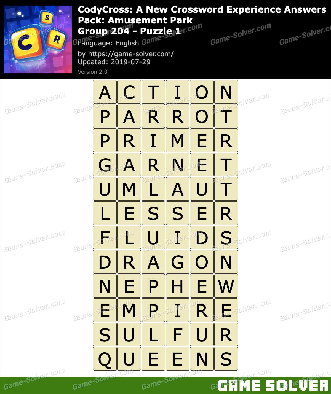 CodyCross Amusement Park Group 204-Puzzle 1 Answers
