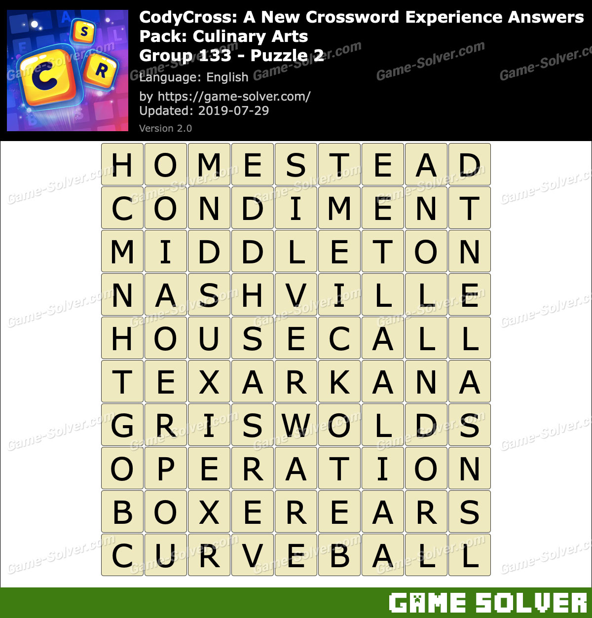 CodyCross Culinary Arts Group 133-Puzzle 2 Answers