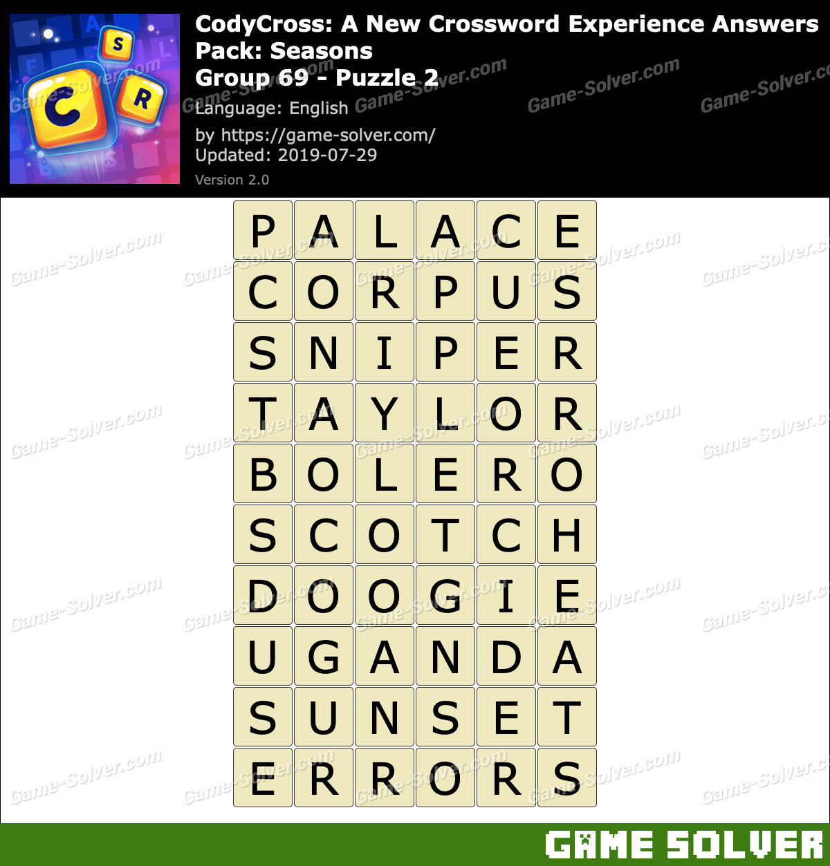 CodyCross Seasons Group 69-Puzzle 2 Answers