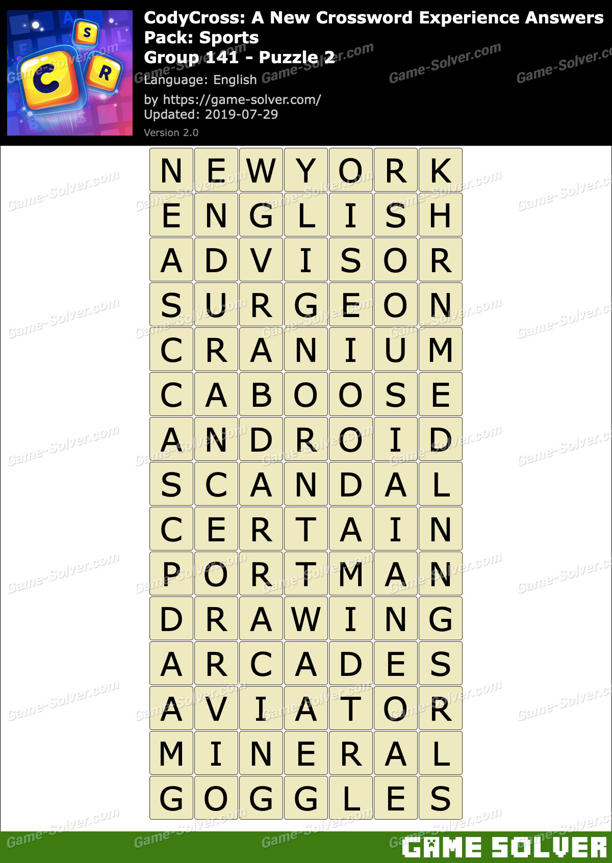 CodyCross Sports Group 141-Puzzle 2 Answers