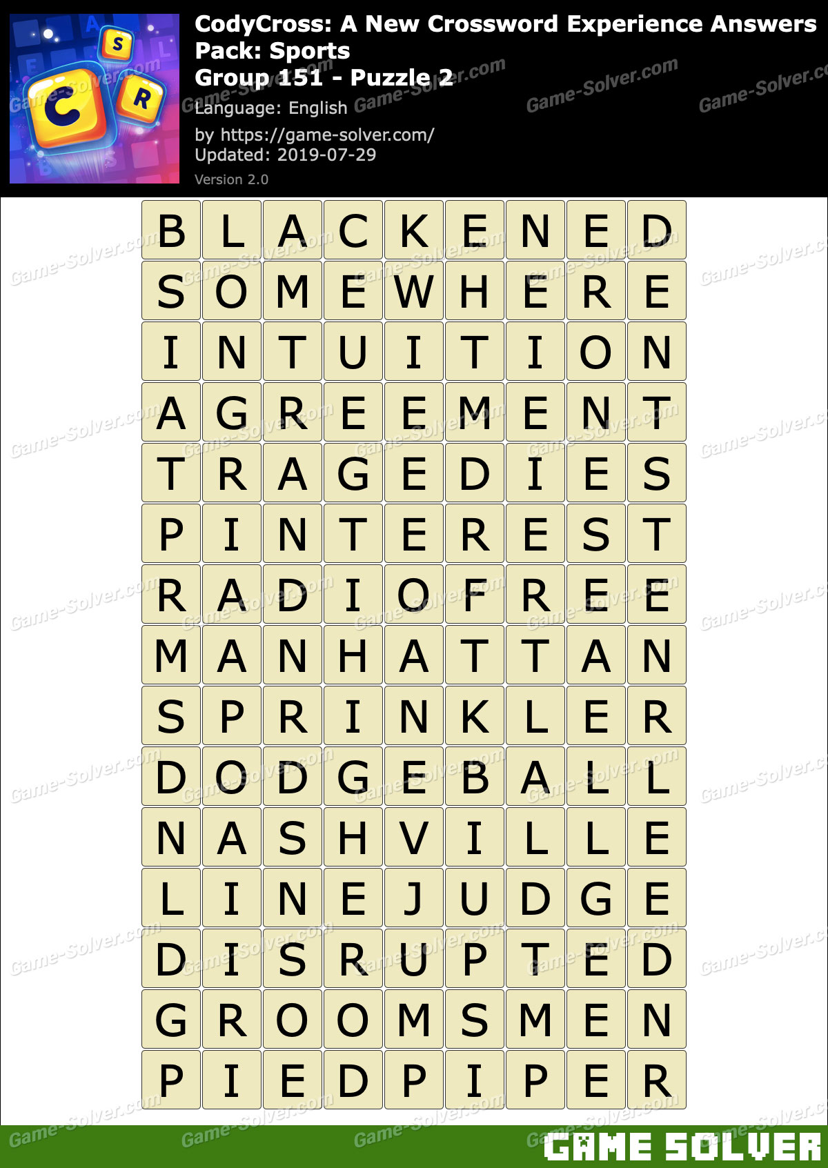 CodyCross Sports Group 151-Puzzle 2 Answers