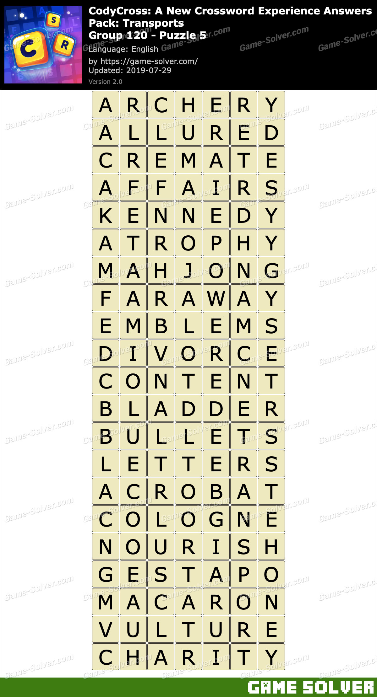 CodyCross Transports Group 120-Puzzle 5 Answers