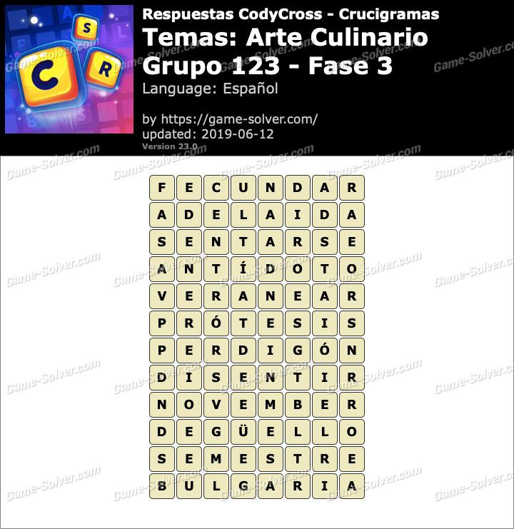 Respuestas CodyCross Arte Culinario Grupo 123-Fase 3