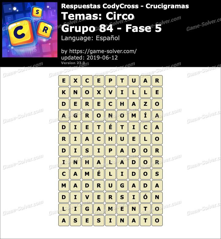 Respuestas CodyCross Circo Grupo 84-Fase 5