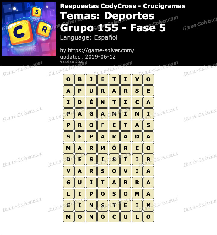 Respuestas CodyCross Deportes Grupo 155-Fase 5