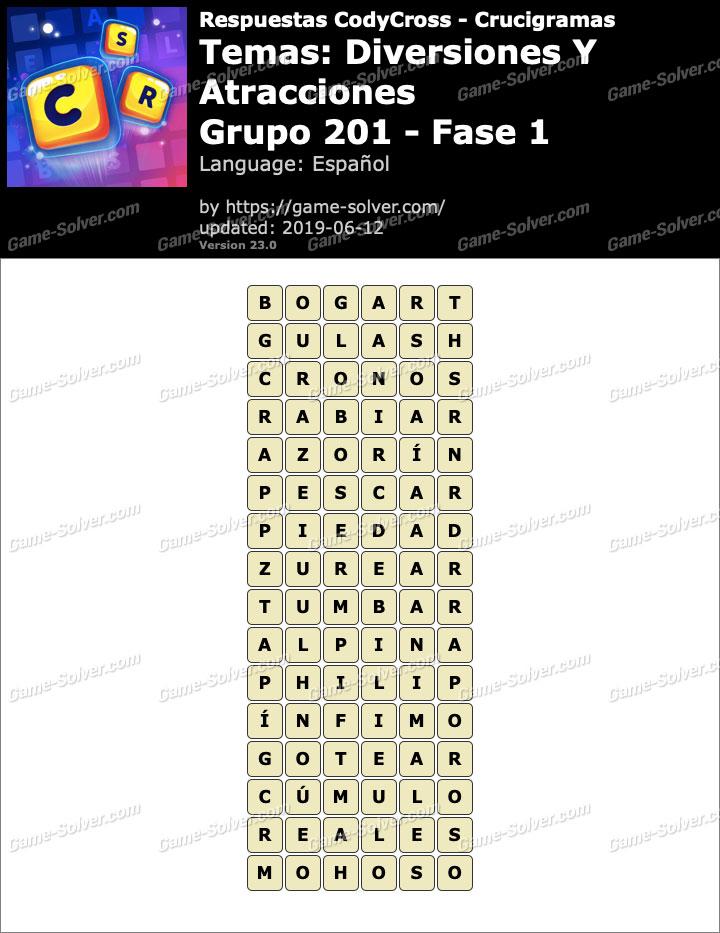Respuestas CodyCross Diversiones y Atracciones Grupo 201-Fase 1