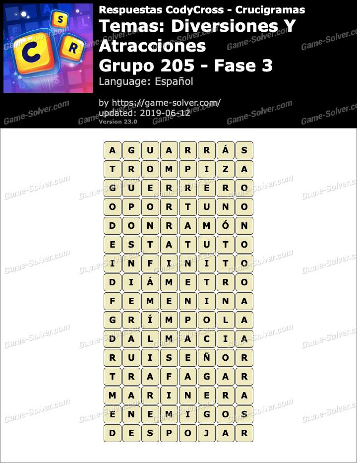 Respuestas CodyCross Diversiones y Atracciones Grupo 205-Fase 3