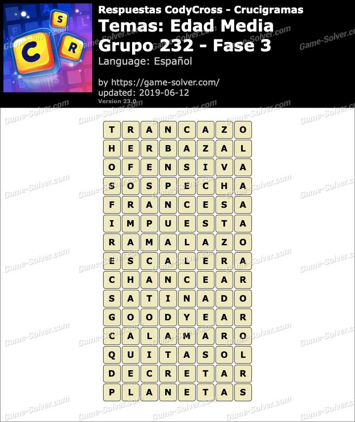 Respuestas CodyCross Edad Media Grupo 232-Fase 3