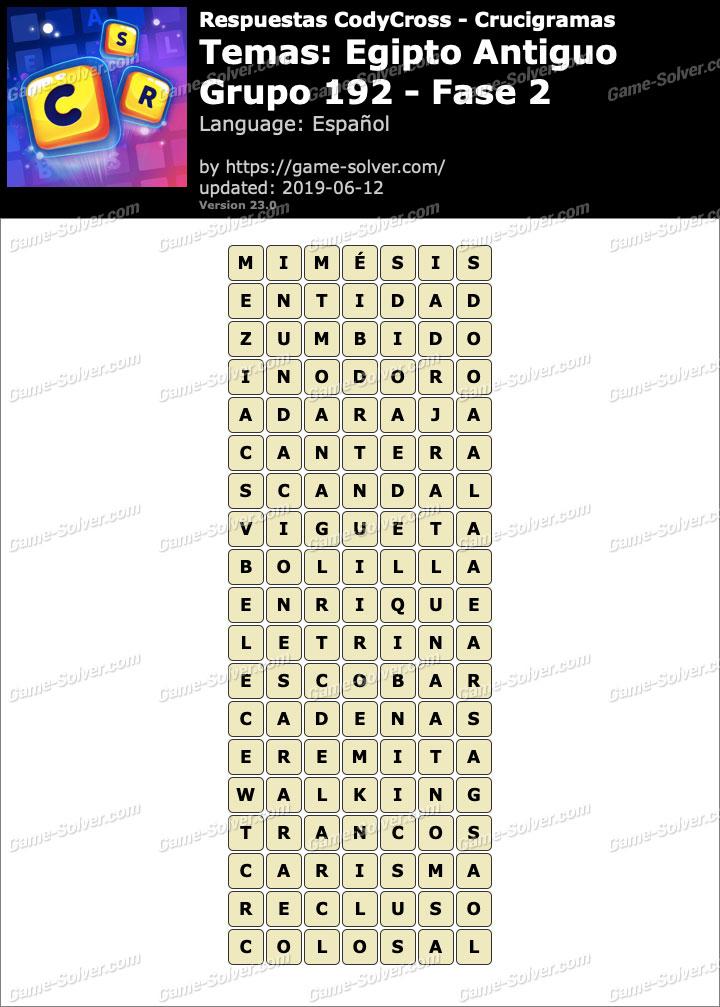Respuestas CodyCross Egipto Antiguo Grupo 192-Fase 2