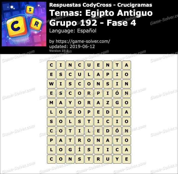 Respuestas CodyCross Egipto Antiguo Grupo 192-Fase 4