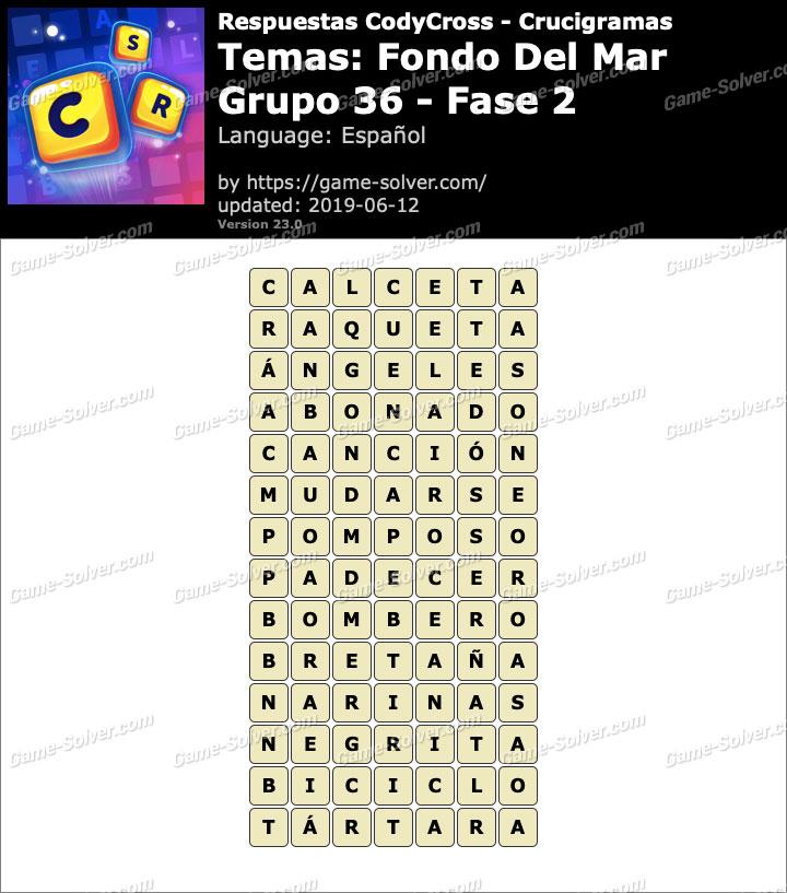 Respuestas CodyCross Fondo del mar Grupo 36-Fase 2