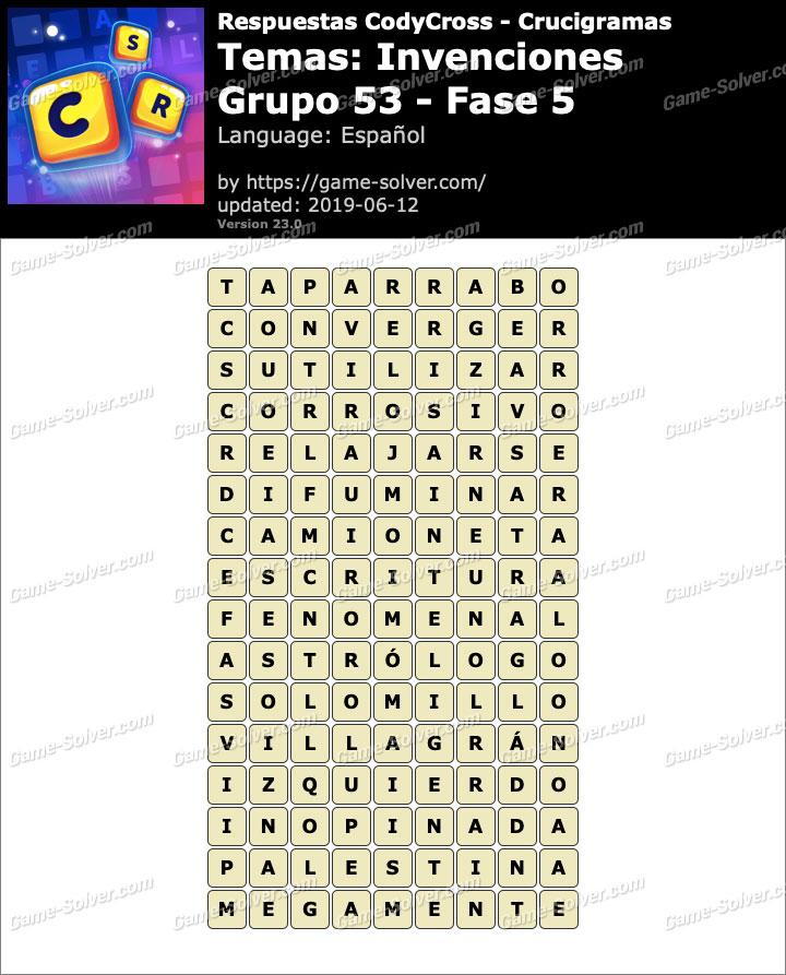 Respuestas CodyCross Invenciones Grupo 53-Fase 5