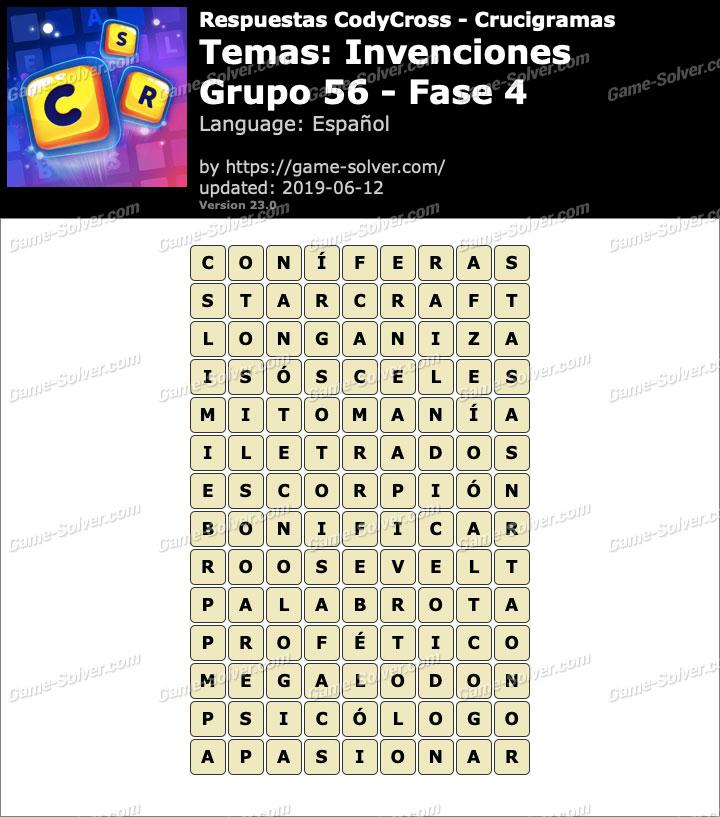 Respuestas CodyCross Invenciones Grupo 56-Fase 4
