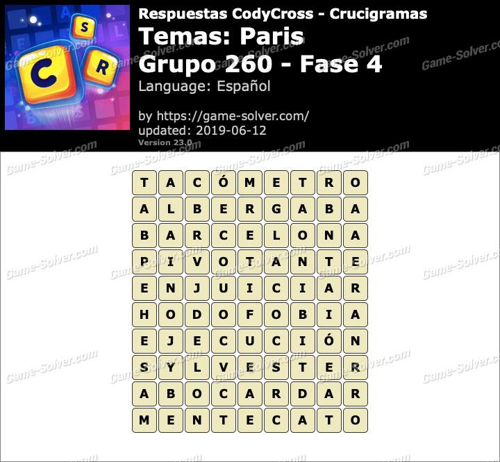 Respuestas CodyCross Paris Grupo 260-Fase 4