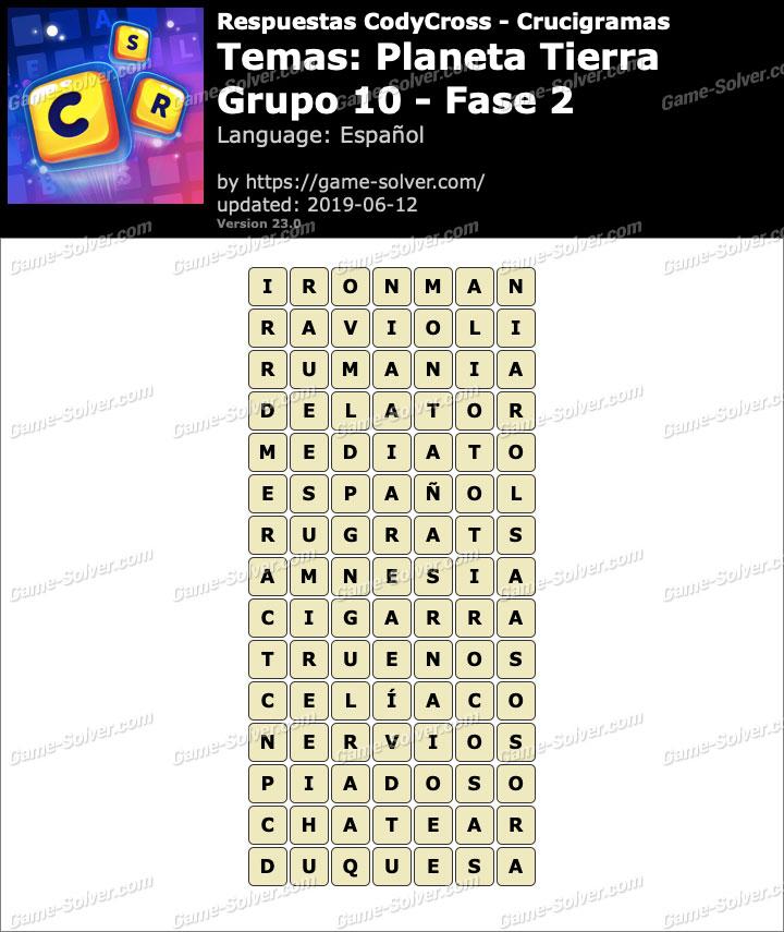 Respuestas CodyCross Planeta Tierra Grupo 10-Fase 2