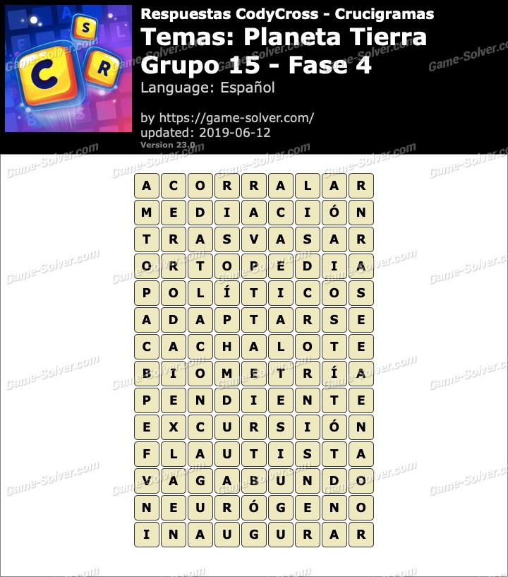 Respuestas CodyCross Planeta Tierra Grupo 15-Fase 4