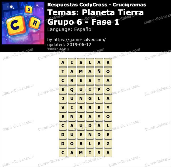 Respuestas CodyCross Planeta Tierra Grupo 6-Fase 1