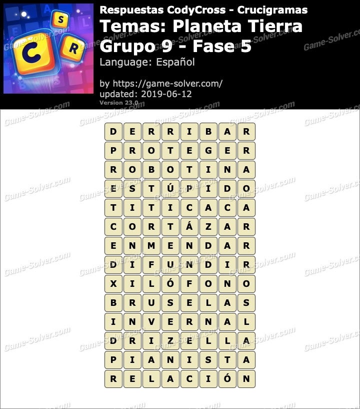 Respuestas CodyCross Planeta Tierra Grupo 9-Fase 5