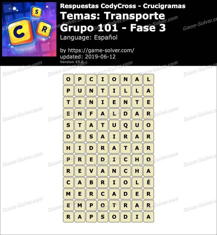 Respuestas CodyCross Transporte Grupo 101-Fase 3