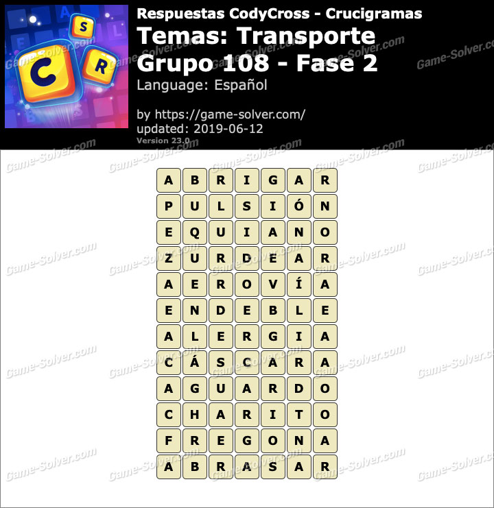 Respuestas CodyCross Transporte Grupo 108-Fase 2