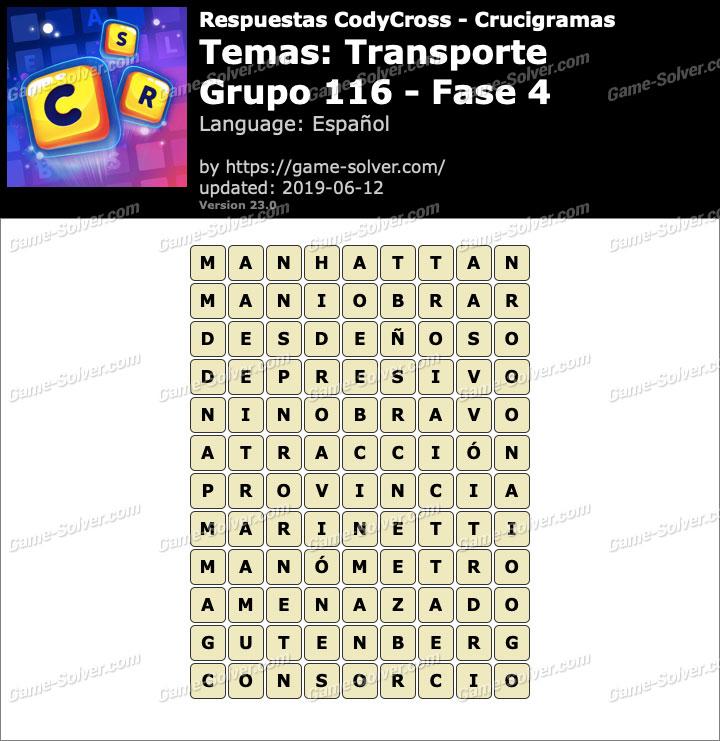 Respuestas CodyCross Transporte Grupo 116-Fase 4