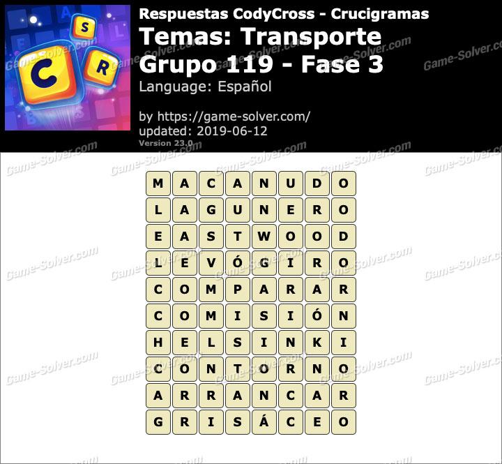 Respuestas CodyCross Transporte Grupo 119-Fase 3