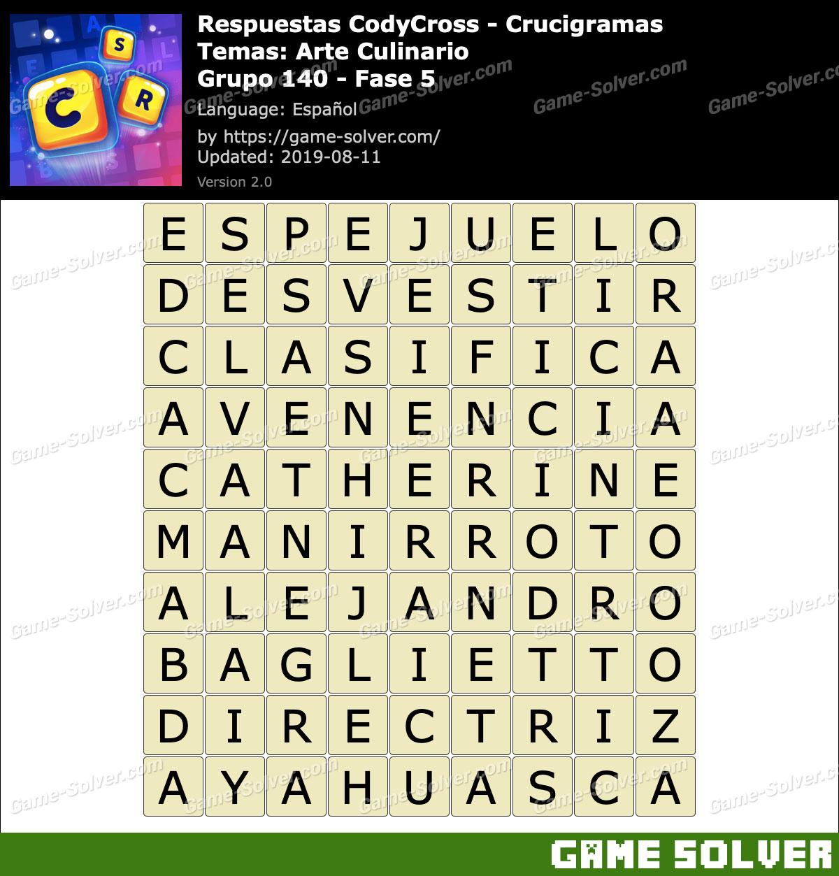 Respuestas CodyCross Arte Culinario Grupo 140-Fase 5
