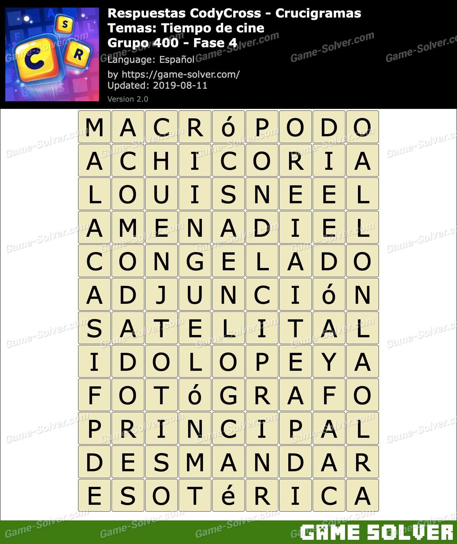Respuestas CodyCross Tiempo de cine Grupo 400-Fase 4