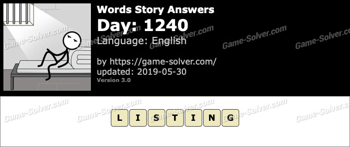 Words Story Day 1240 Answers