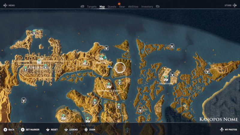 Assassin's Creed Origins - Emplacement Des Énigmes Papyrus Voie De La Nature solution