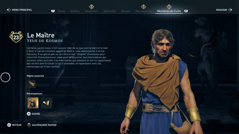 Assassin's Creed Odyssey trouver et tuer les adeptes du culte du Kosmos, ps4, xbox one, pc, ubisoft, jeu vidéo, Yeux de Kosmos, le maîte