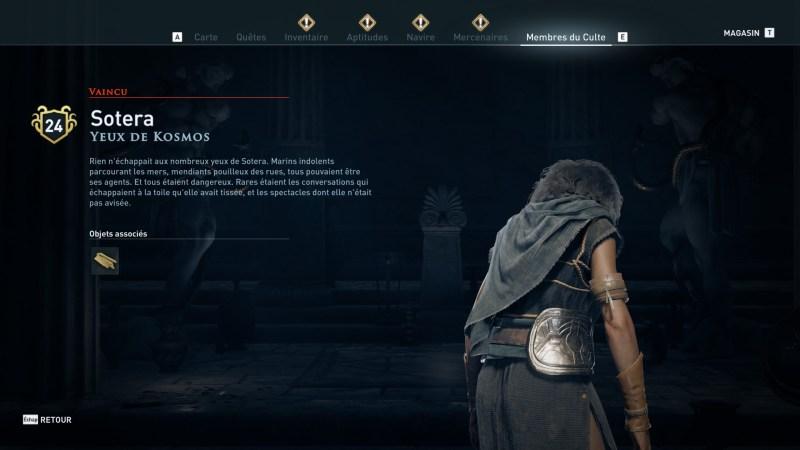 Assassin's Creed Odyssey trouver et tuer les adeptes du culte du Kosmos, ps4, xbox one, pc, ubisoft, jeu vidéo, Yeux de Kosmos, sotera