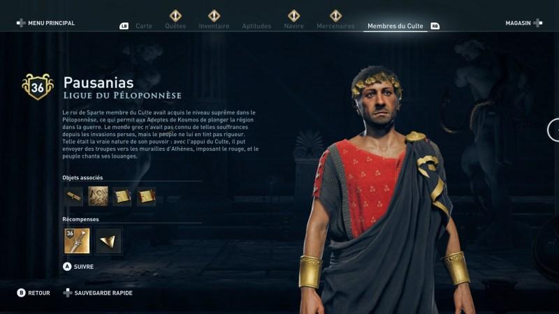 Assassin's Creed Odyssey trouver et tuer les adeptes du culte du Kosmos, ps4, xbox one, pc, ubisoft, jeu vidéo, Ligue du péloponèse pausanias