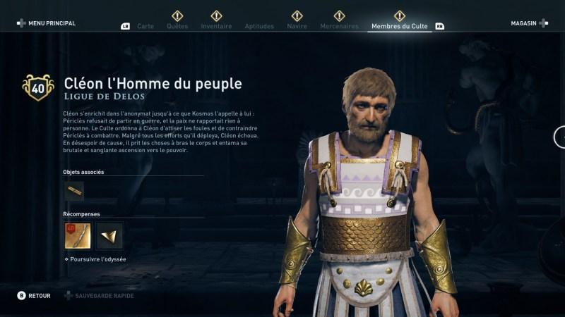 Assassin's Creed Odyssey trouver et tuer les adeptes du culte du Kosmos, ps4, xbox one, pc, ubisoft, jeu vidéo, Ligue de delos Cleon l'homme du peuple