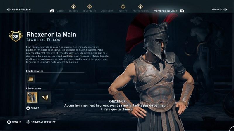 Assassin's Creed Odyssey trouver et tuer les adeptes du culte du Kosmos, ps4, xbox one, pc, ubisoft, jeu vidéo, rhexenor la main ligue de delos