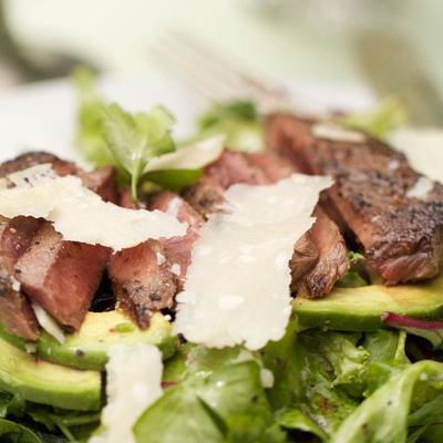 Deer Loin with Arugula, Avocados, and Parmesan Cheese